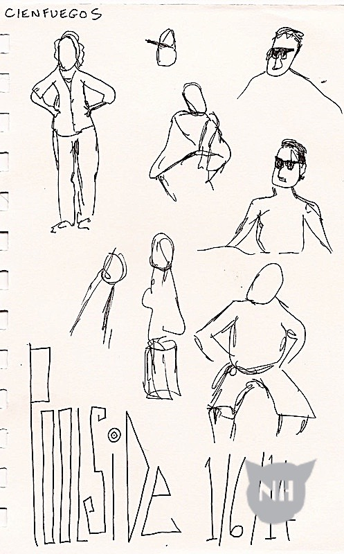 Another Cienfuegos poolside sketch.  I like the one in the upper left corner.  It shows the relative unimportance of facial features in capturing someone's likeness.  I find this person to be recognizable from stance and other non-facial features.
